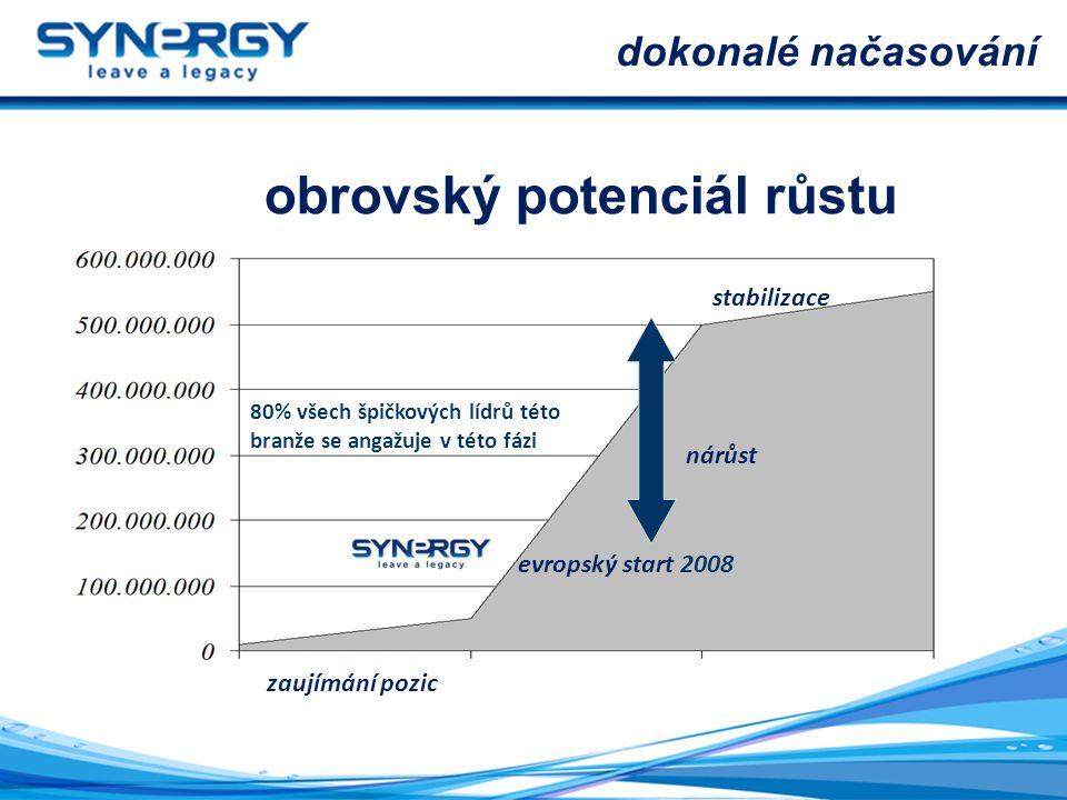 stabilizace zaujímání pozic nárůst evropský start 2008 80% všech špičkových lídrů této branže se angažuje v této fázi obrovský potenciál růstu dokonalé načasování