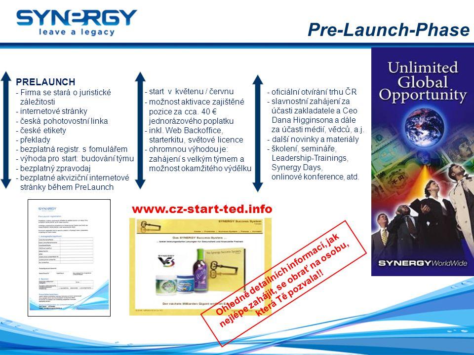 Pre-Launch-Phase PRELAUNCH - Firma se stará o juristické záležitosti - internetové stránky - česká pohotovostní linka - české etikety - překlady - bez
