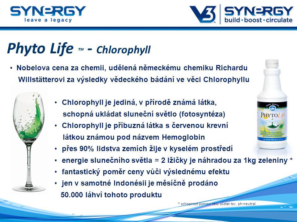 Phyto Life ™ - Chlorophyll Nobelova cena za chemii, udělená německému chemiku Richardu Willstätterovi za výsledky vědeckého bádání ve věci Chlorophyllu Chlorophyll je jediná, v přírodě známá látka, schopná ukládat sluneční světlo (fotosyntéza) Chlorophyll je příbuzná látka s červenou krevní látkou známou pod názvem Hemoglobin přes 90% lidstva zemích žije v kyselém prostředí energie slunečního světla = 2 lžičky je náhradou za 1kg zeleniny * fantastický poměr ceny vůči výslednému efektu jen v samotné Indonésii je měsíčně prodáno 50.000 láhví tohoto produktu * schopnost pomoci tělu zůstat tzv.