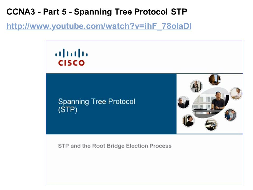 Introduction to Spanning Tree Protocol (STP) Part 1 http://www.youtube.com/watch?v=u4E_mG0pe00 http://www.youtube.com/watch?v=u4E_mG0pe00
