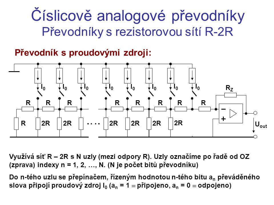 Číslicově analogové převodníky Převodníky s rezistorovou sítí R-2R Převodník s proudovými zdroji: RRRRRRR R2R R I0I0 I0I0 I0I0 I0I0 I0I0 I0I0 I0I0 I0I