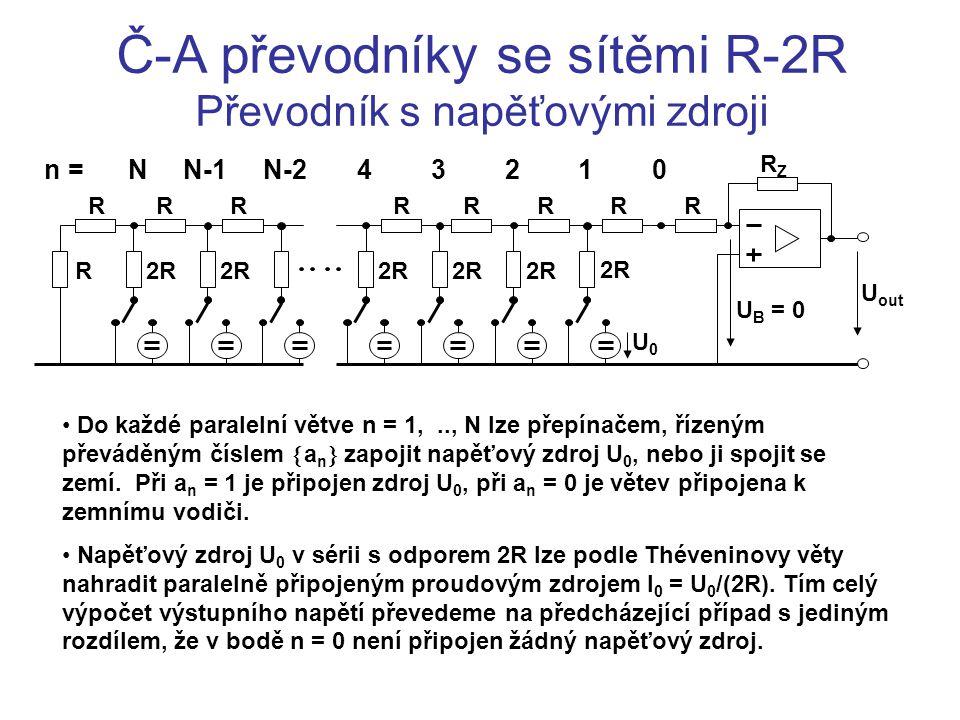Č-A převodníky se sítěmi R-2R Převodník s napěťovými zdroji Do každé paralelní větve n = 1,.., N lze přepínačem, řízeným převáděným číslem  a n  zap