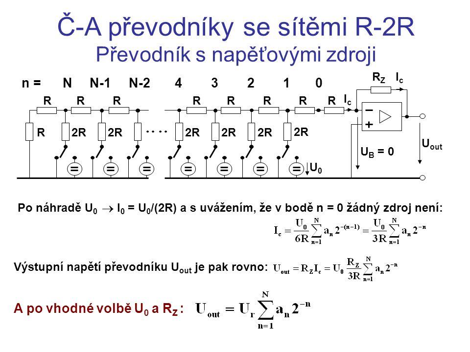Č-A převodníky se sítěmi R-2R Převodník s napěťovými zdroji Po náhradě U 0  I 0 = U 0 /(2R) a s uvážením, že v bodě n = 0 žádný zdroj není: RRRRRRR R