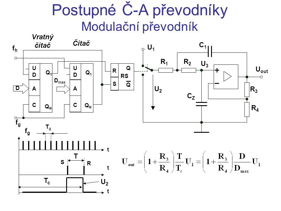 Postupné Č-A převodníky Modulační převodník t t t TgTg fgfg R S T TcTc U2U2 UDUD A C Q1Q1 QNQN UDUD A C Q1Q1 QNQN R S Q Q D CZCZ C1C1 R1R1 R2R2 R3R3 R