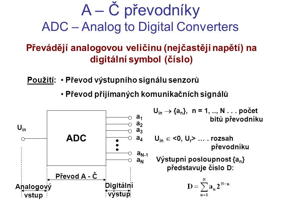 A – Č převodníky ADC – Analog to Digital Converters Převádějí analogovou veličinu (nejčastěji napětí) na digitální symbol (číslo) Použití: Převod výst