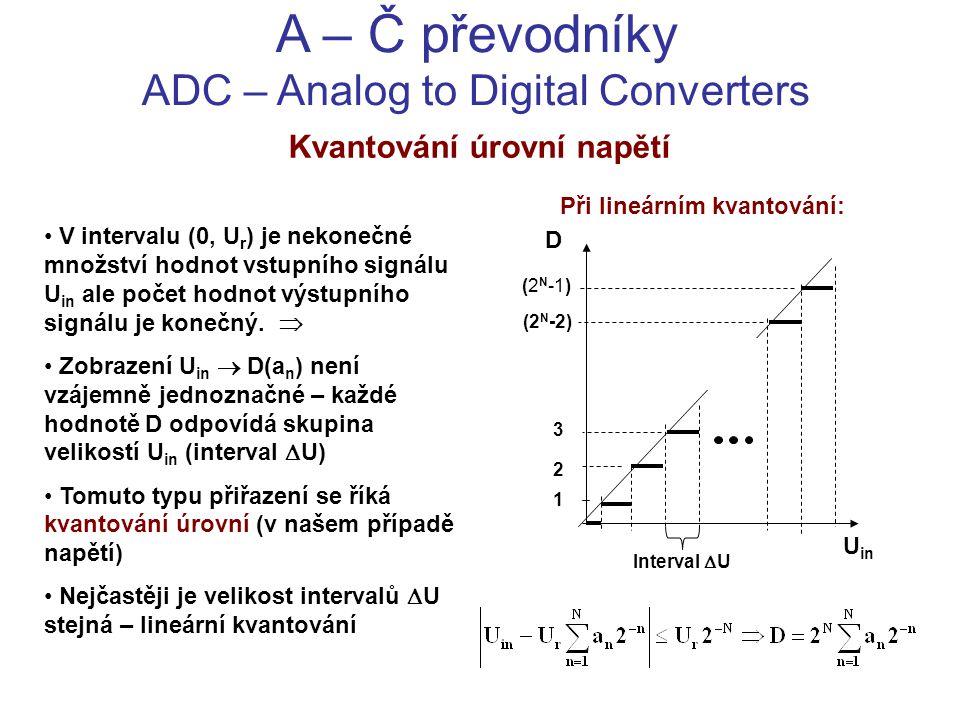 A – Č převodníky ADC – Analog to Digital Converters Kvantování úrovní napětí V intervalu (0, U r ) je nekonečné množství hodnot vstupního signálu U in
