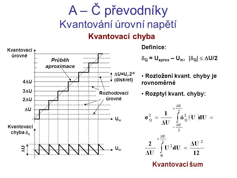A – Č převodníky Kvantování úrovní napětí Kvantovací chyba Definice:  Q = U aprox – U in, |  Q |   U/2 Rozložení kvant. chyby je rovnoměrné Rozpty