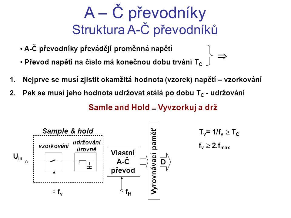 A – Č převodníky Struktura A-Č převodníků A-Č převodníky převádějí proměnná napětí Převod napětí na číslo má konečnou dobu trvání T C  1. Nejprve se