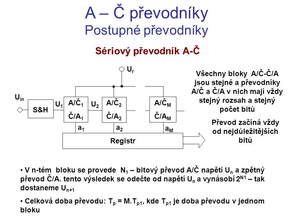 A – Č převodníky Postupné převodníky Sériový převodník A-Č Všechny bloky A/Č-Č/A jsou stejné a převodníky A/Č a Č/A v nich mají vždy stejný rozsah a s