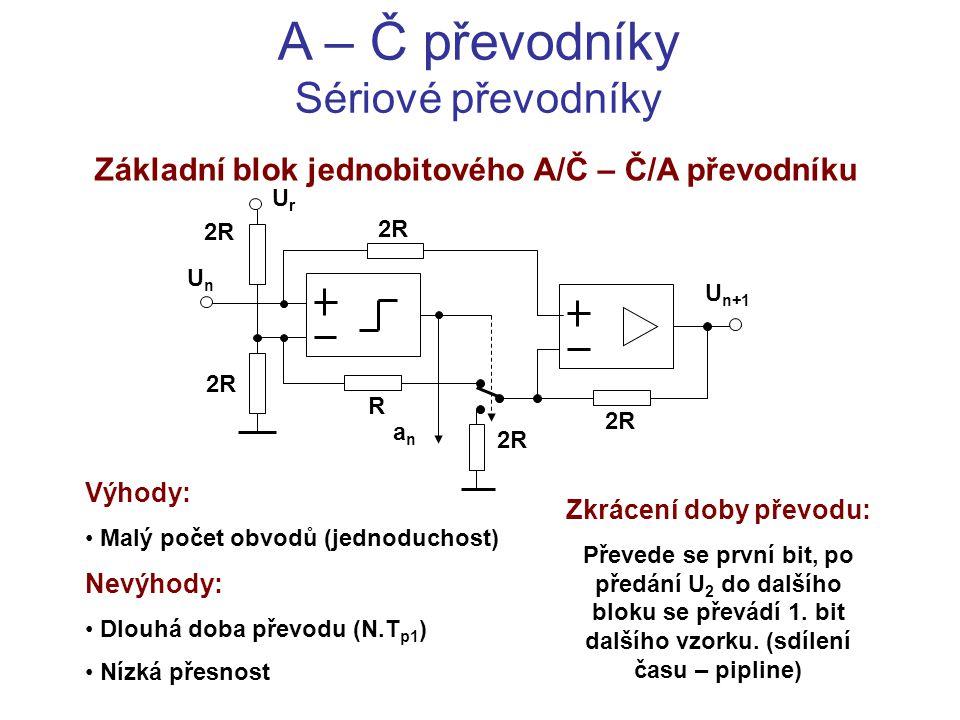 A – Č převodníky Sériové převodníky Základní blok jednobitového A/Č – Č/A převodníku Výhody: Malý počet obvodů (jednoduchost) Nevýhody: Dlouhá doba př