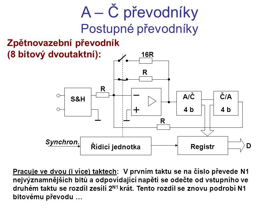 A – Č převodníky Postupné převodníky Zpětnovazební převodník (8 bitový dvoutaktní): Pracuje ve dvou (i více) taktech: V prvním taktu se na číslo převe