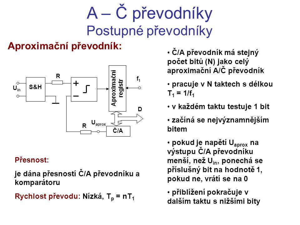 A – Č převodníky Postupné převodníky Aproximační převodník: Č/A převodník má stejný počet bitů (N) jako celý aproximační A/Č převodník pracuje v N tak