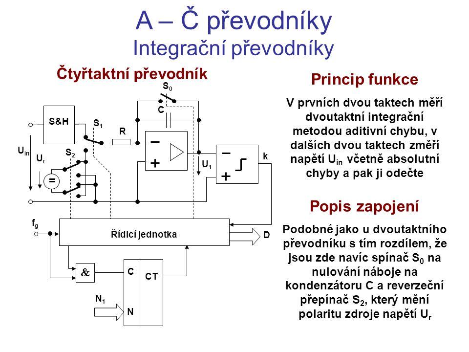 A – Č převodníky Integrační převodníky Čtyřtaktní převodník Princip funkce V prvních dvou taktech měří dvoutaktní integrační metodou aditivní chybu, v