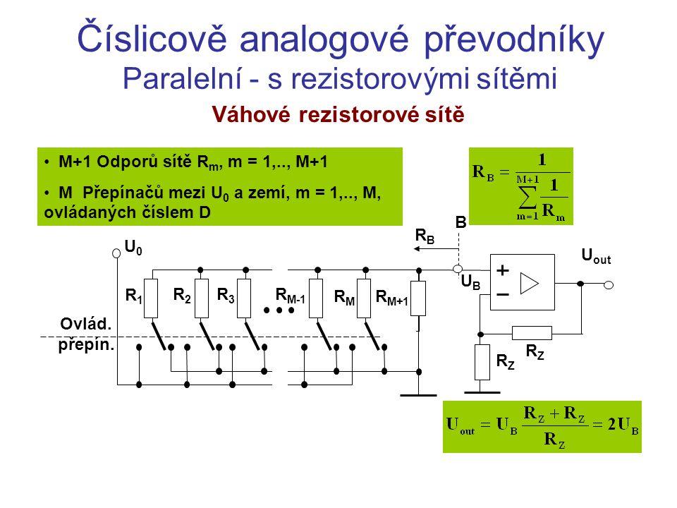 Postupné Č-A převodníky Modulační převodník Charakteristiky: Vysoká přesnost Dlouhá doba převodu t t T TcTc U2U2 U U3U3 UsUs U 3 se ustálí v okolí střední hodnoty U s, kdy se náboj Q 1 nabíjený do kondenzátoru C Z v době impulzu bude rovnat vybitému náboji Q 2 v době mezi pulzy: Q 1 = (U 1 -U S )/R C.T = Q 2 = U S /R C.(T C -T 1 )  U S = U 1.(T/T C ) CZCZ C1C1 R1R1 R2R2 R3R3 R4R4 U out U1U1 U3U3 U2U2 R 1 +R 2  R C