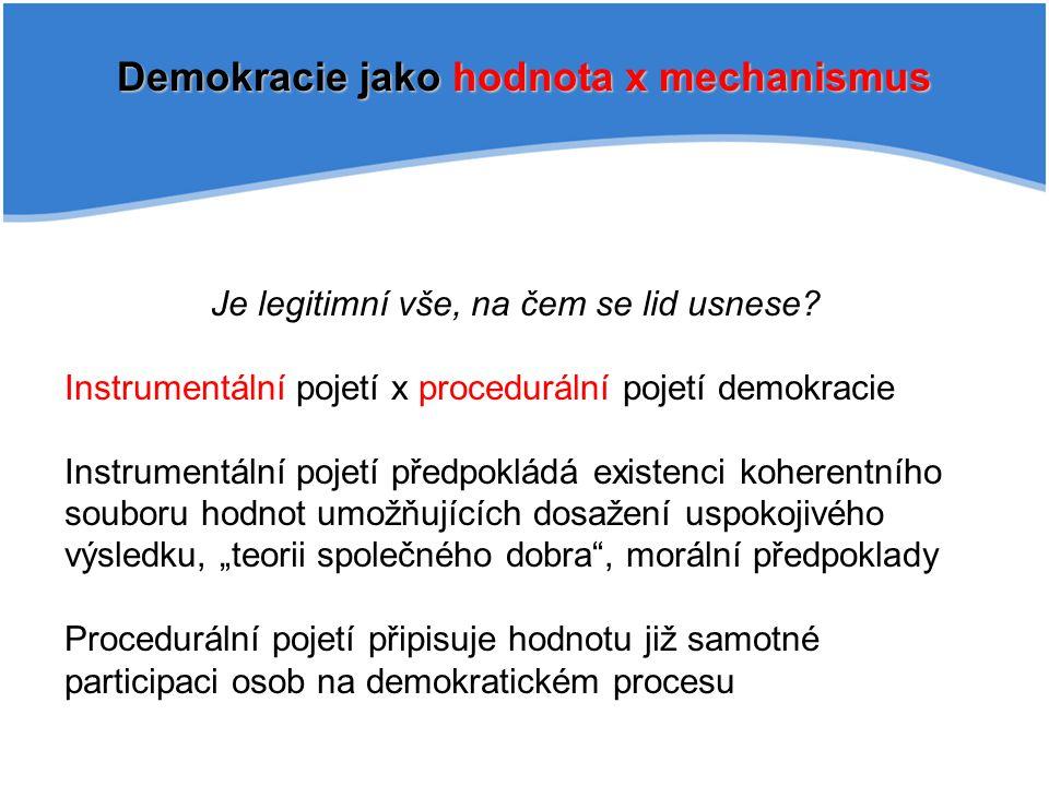 """Habermasova teorie demokracie Procedurální pojetí demokracie Jednání instrumentální X komunikativní Deliberativní (diskursivní) demokracie """"Systém musí obsahovat právě ty práva, jež musí být vzájemně uznány občany, kteří chtějí žít ve společnosti řízené pozitivními právy ."""