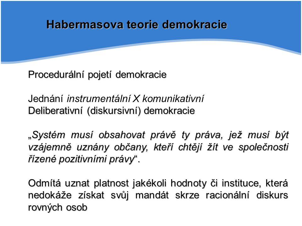 """Habermasova teorie demokracie Procedurální pojetí demokracie Jednání instrumentální X komunikativní Deliberativní (diskursivní) demokracie """"Systém mus"""