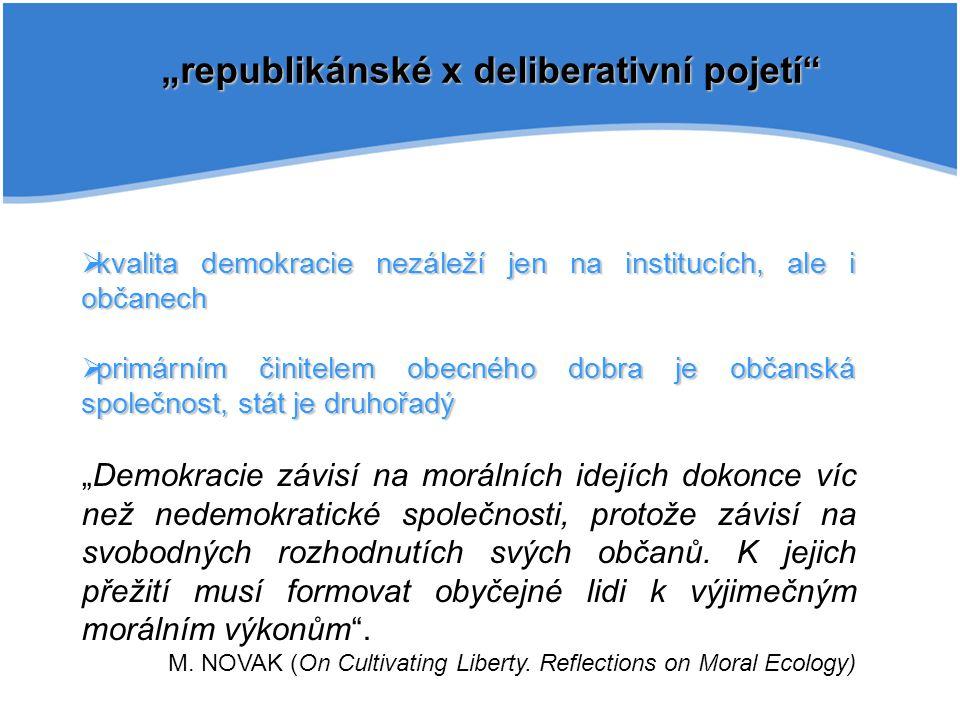 """""""republikánské x deliberativní pojetí""""  kvalita demokracie nezáleží jen na institucích, ale i občanech  primárním činitelem obecného dobra je občans"""