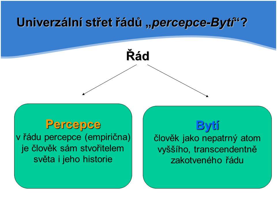 """Univerzální střet řádů """"percepce-Bytí""""? Percepce v řádu percepce (empirična) je člověk sám stvořitelem světa i jeho historie Bytí člověk jako nepatrný"""