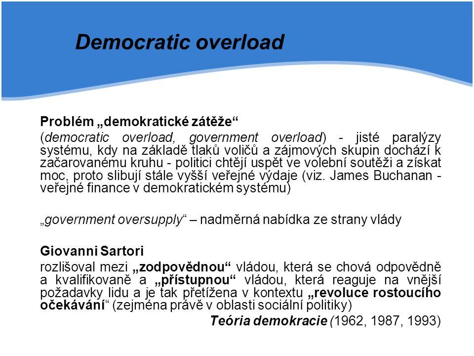 """Problém """"demokratické zátěže"""" (democratic overload, government overload) - jisté paralýzy systému, kdy na základě tlaků voličů a zájmových skupin doch"""