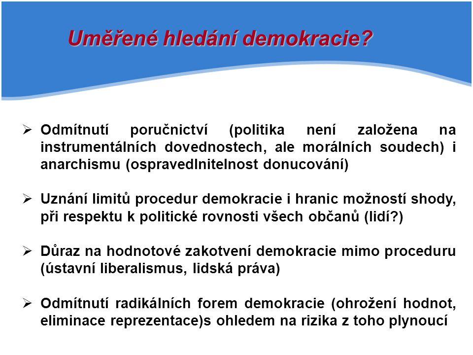 Uměřené hledání demokracie?   Odmítnutí poručnictví (politika není založena na instrumentálních dovednostech, ale morálních soudech) i anarchismu (o