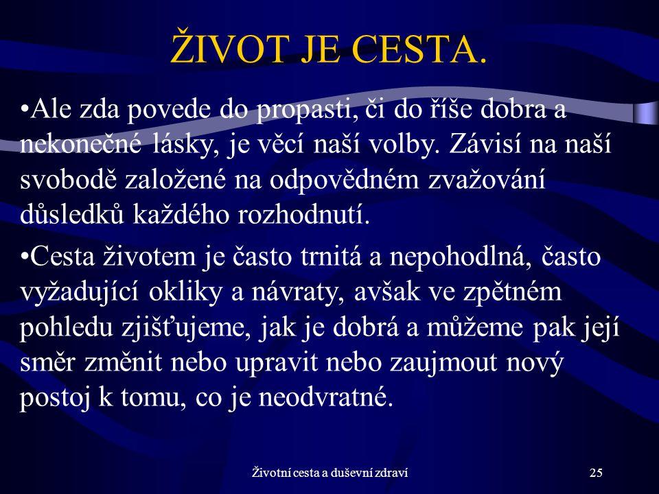 Životní cesta a duševní zdraví25 ŽIVOT JE CESTA.