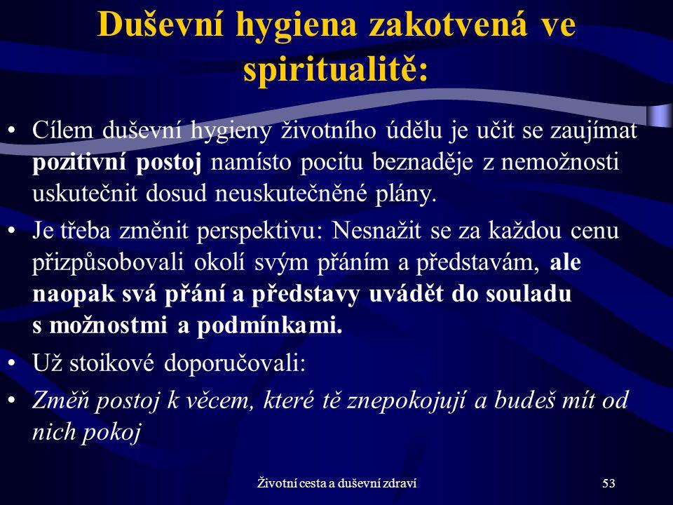Životní cesta a duševní zdraví53 Duševní hygiena zakotvená ve spiritualitě: Cílem duševní hygieny životního údělu je učit se zaujímat pozitivní postoj namísto pocitu beznaděje z nemožnosti uskutečnit dosud neuskutečněné plány.