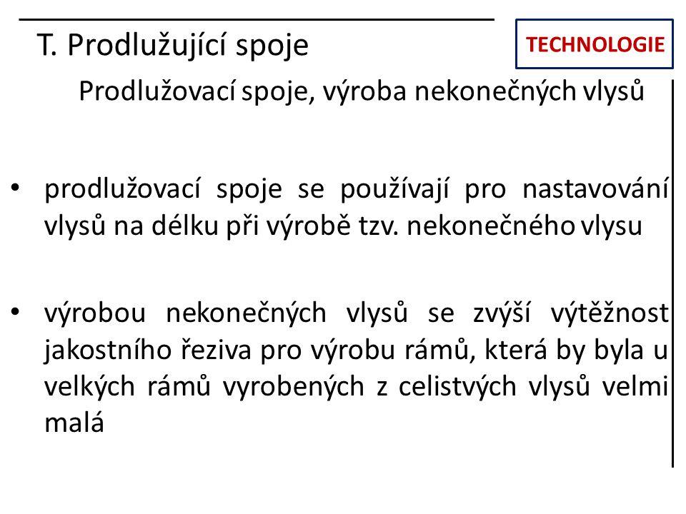 TECHNOLOGIE T. Prodlužující spoje Prodlužovací spoje, výroba nekonečných vlysů prodlužovací spoje se používají pro nastavování vlysů na délku při výro