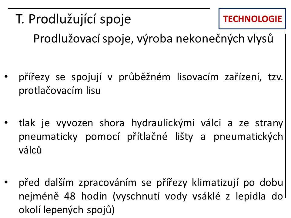 TECHNOLOGIE T. Prodlužující spoje Prodlužovací spoje, výroba nekonečných vlysů přířezy se spojují v průběžném lisovacím zařízení, tzv. protlačovacím l
