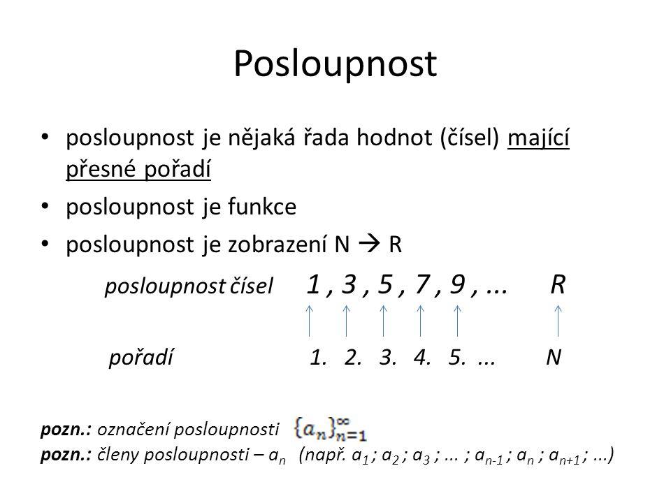Graf posloupnosti posloupnost je funkce a tedy má i své grafické znázornění (graf) -graf izolovaných bodů [ N; R]  [ n; a n ] R N