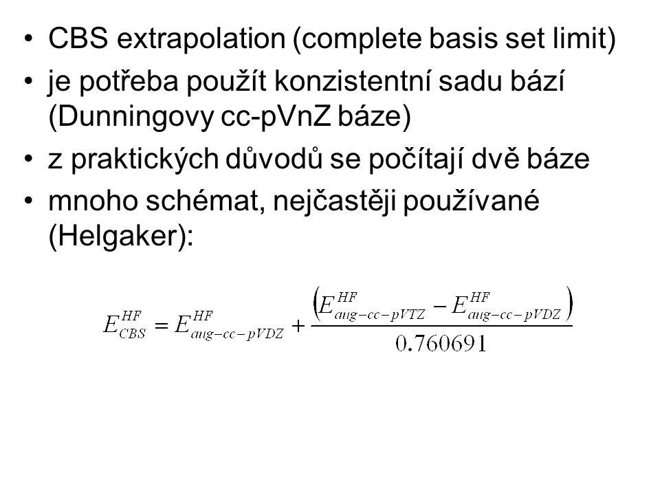 CBS extrapolation (complete basis set limit) je potřeba použít konzistentní sadu bází (Dunningovy cc-pVnZ báze) z praktických důvodů se počítají dvě b
