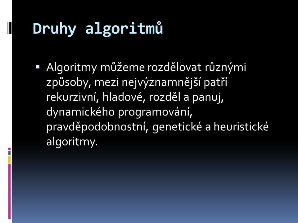 Druhy algoritmů  Algoritmy můžeme rozdělovat různými způsoby, mezi nejvýznamnější patří rekurzivní, hladové, rozděl a panuj, dynamického programování