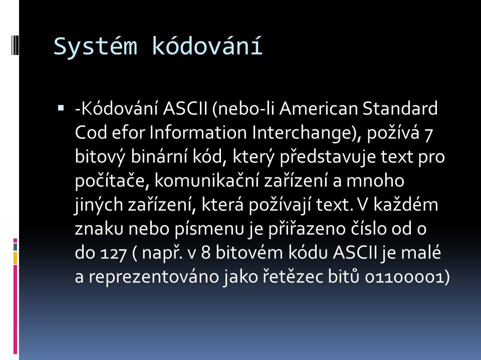 Systém kódování  -Kódování ASCII (nebo-li American Standard Cod efor Information Interchange), požívá 7 bitový binární kód, který představuje text pr