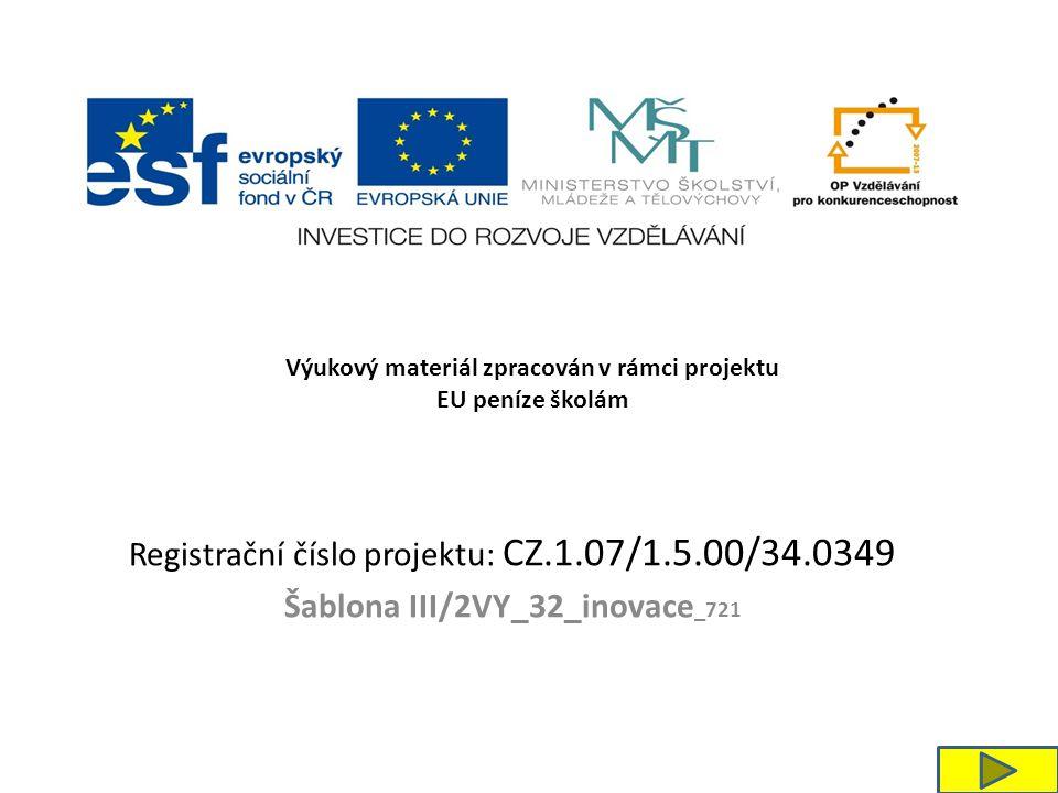 Registrační číslo projektu: CZ.1.07/1.5.00/34.0349 Šablona III/2VY_32_inovace _721 Výukový materiál zpracován v rámci projektu EU peníze školám