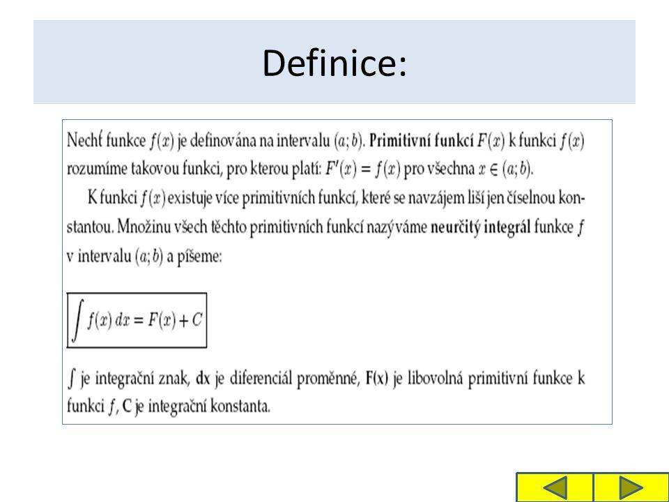 Výsledek příkladu 1: Proces výpočtu neurčitého integrálu se nazývá integrace neboli integrování.