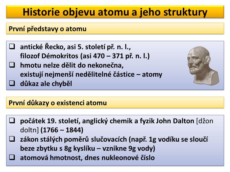  Joseph John [džousef džon] Thomson (1856 – 1940)  zkoumal katodové paprsky  v roce 1898 prohlásil, že katodové paprsky jsou tvořeny velmi malými zápornými částicemi – elektrony  Joseph John [džousef džon] Thomson (1856 – 1940)  zkoumal katodové paprsky  v roce 1898 prohlásil, že katodové paprsky jsou tvořeny velmi malými zápornými částicemi – elektrony Historie objevu atomu a jeho struktury Objev elektronu katoda katodové paprsky katodové paprsky vychýlené elektrickým polem