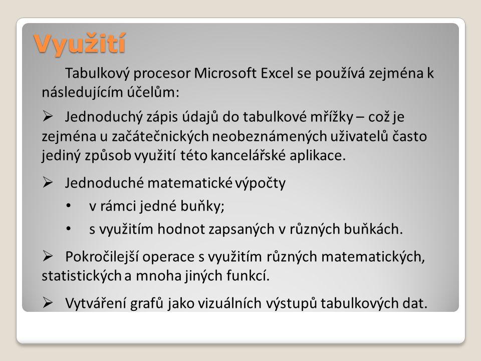 Využití Tabulkový procesor Microsoft Excel se používá zejména k následujícím účelům:  Jednoduchý zápis údajů do tabulkové mřížky – což je zejména u začátečnických neobeznámených uživatelů často jediný způsob využití této kancelářské aplikace.