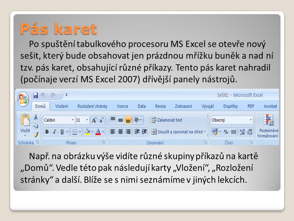 Pás karet Po spuštění tabulkového procesoru MS Excel se otevře nový sešit, který bude obsahovat jen prázdnou mřížku buněk a nad ní tzv.