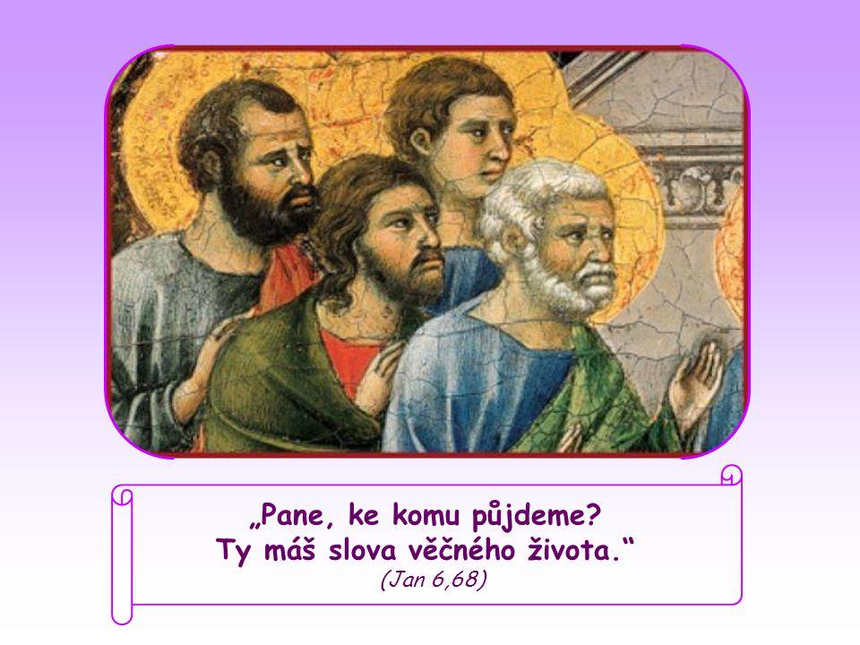 """Když Ježíš viděl, že někteří se stáhli a už s ním nechodili, obrátil se na dvanáct apoštolů: """"I vy chcete odejít? Petr, navždy už s ním spjatý a uchvácený slovy, která od něj slyšel ode dne, kdy se s ním setkal, jménem všech odpověděl:"""