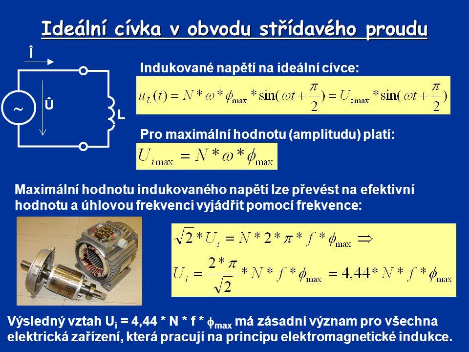 Ideální cívka v obvodu střídavého proudu Î  L Û Indukované napětí na ideální cívce: Výsledný vztah U i = 4,44 * N * f *  max má zásadní význam pro v