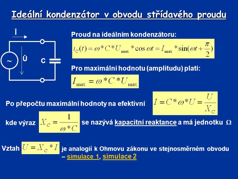 Ideální kondenzátor v obvodu střídavého proudu Proud na ideálním kondenzátoru: Pro maximální hodnotu (amplitudu) platí: Î  C Û Po přepočtu maximální