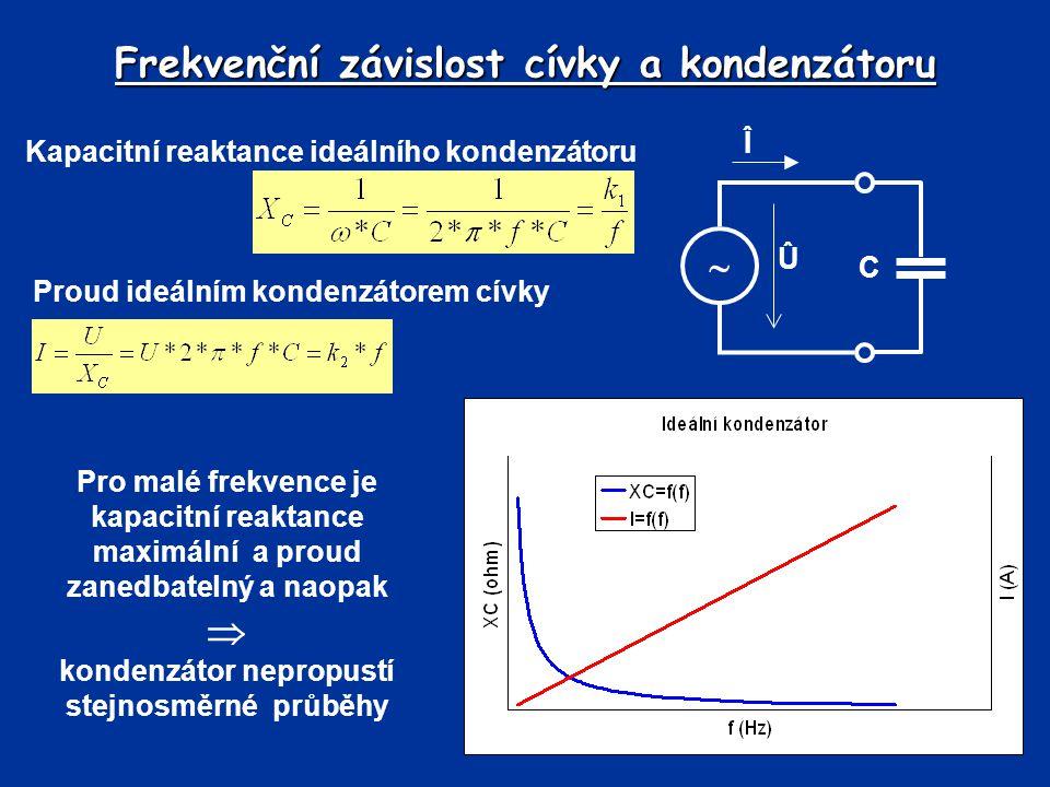 Frekvenční závislost cívky a kondenzátoru Kapacitní reaktance ideálního kondenzátoru Proud ideálním kondenzátorem cívky Pro malé frekvence je kapacitn