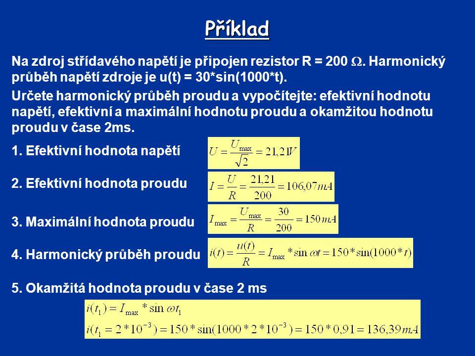 Příklad Na zdroj střídavého napětí je připojen rezistor R = 200 . Harmonický průběh napětí zdroje je u(t) = 30*sin(1000*t). Určete harmonický průběh