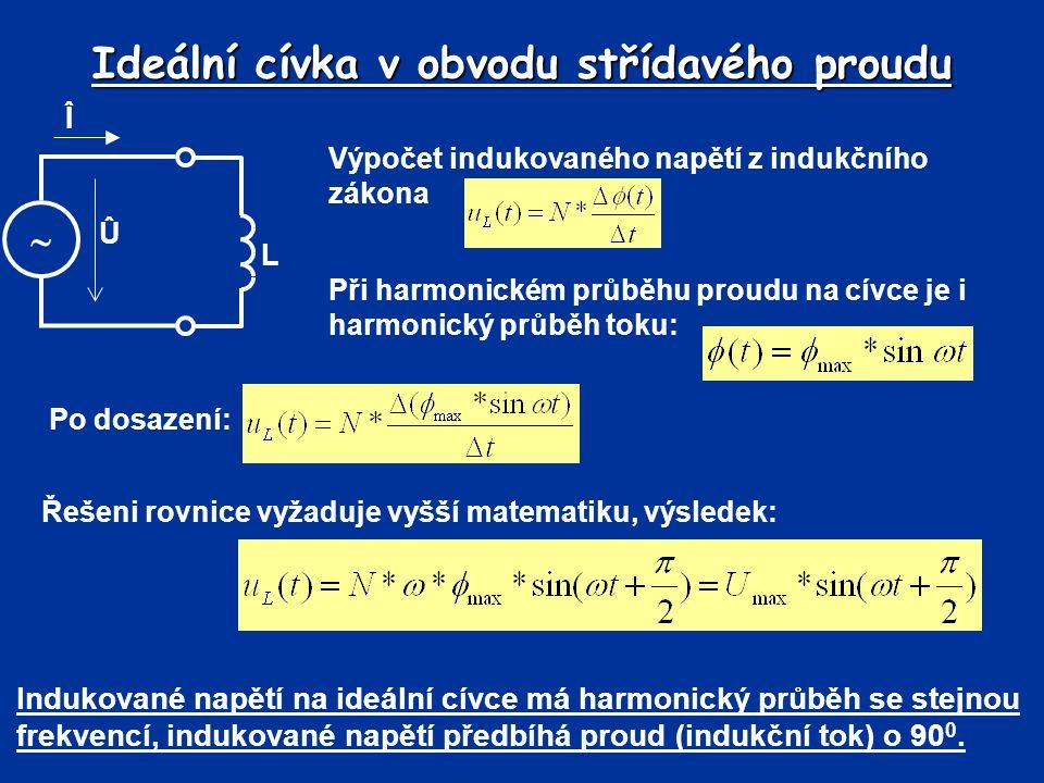 Ideální cívka v obvodu střídavého proudu Î  L Û Výpočet indukovaného napětí z indukčního zákona Při harmonickém průběhu proudu na cívce je i harmonic