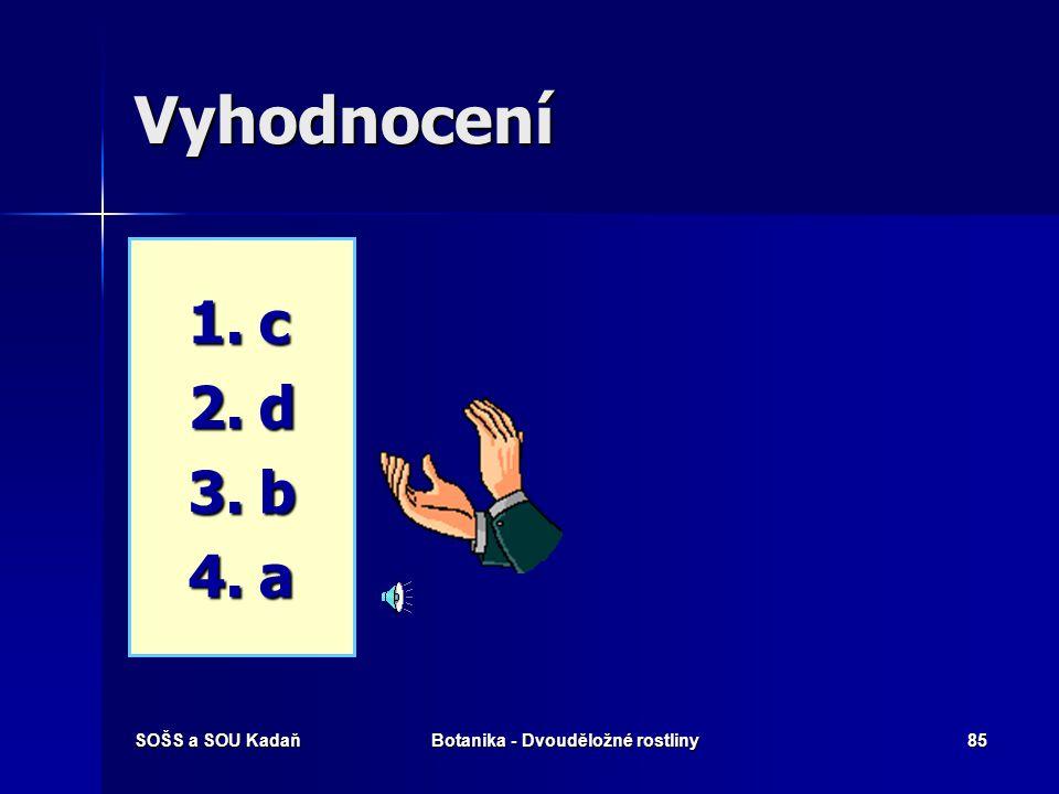 SOŠS a SOU KadaňBotanika - Dvouděložné rostliny84 Ktoré pojmy spolu souvisí? 1. 1.Gyneceum 2. 2.Andraceum 3. 3.Kalyx 4. 4.Corona a) a) Korunní lístky