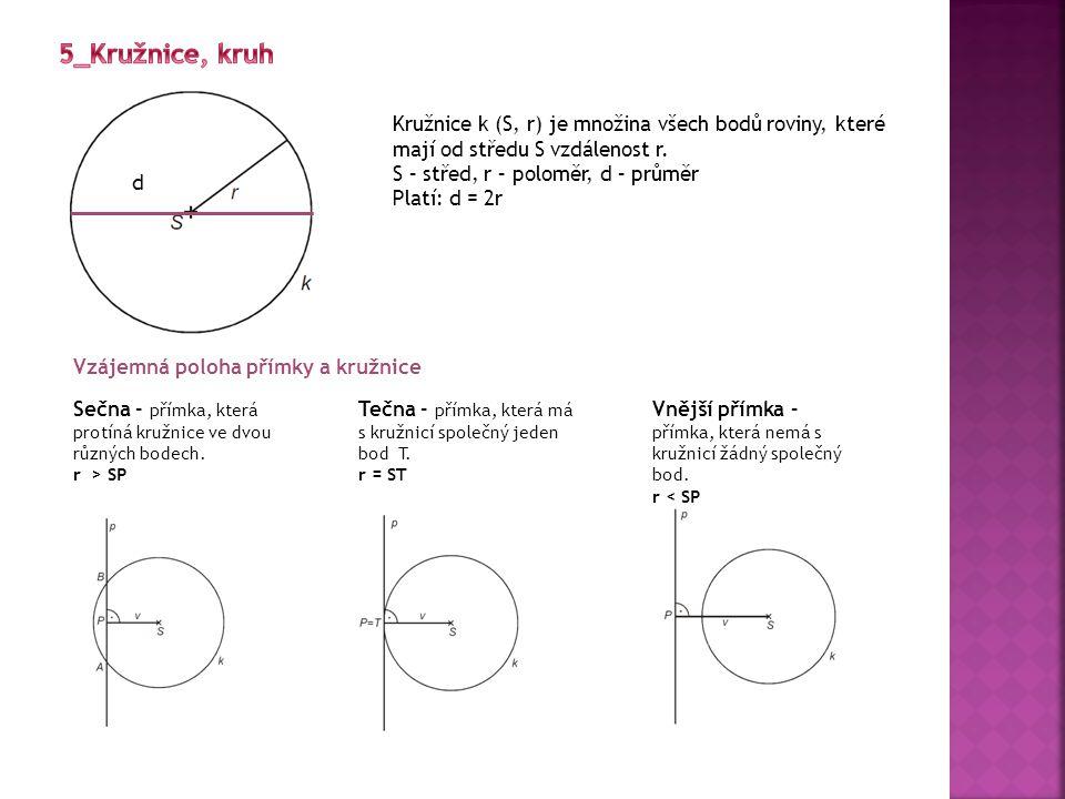 Tětiva kružnice Tětiva je úsečka AB, kde A,B jsou dva různé body kružnice Vzájemná poloha dvou kružnic a) Kružnice se společným středem SOUSTŘEDNÉ b) Kružnice bez společného středu NESOUSTŘEDNÉ Vnější dotyk Vnitřní dotyk Dva společné body Jedna leží uvnitř druhé Leží vně