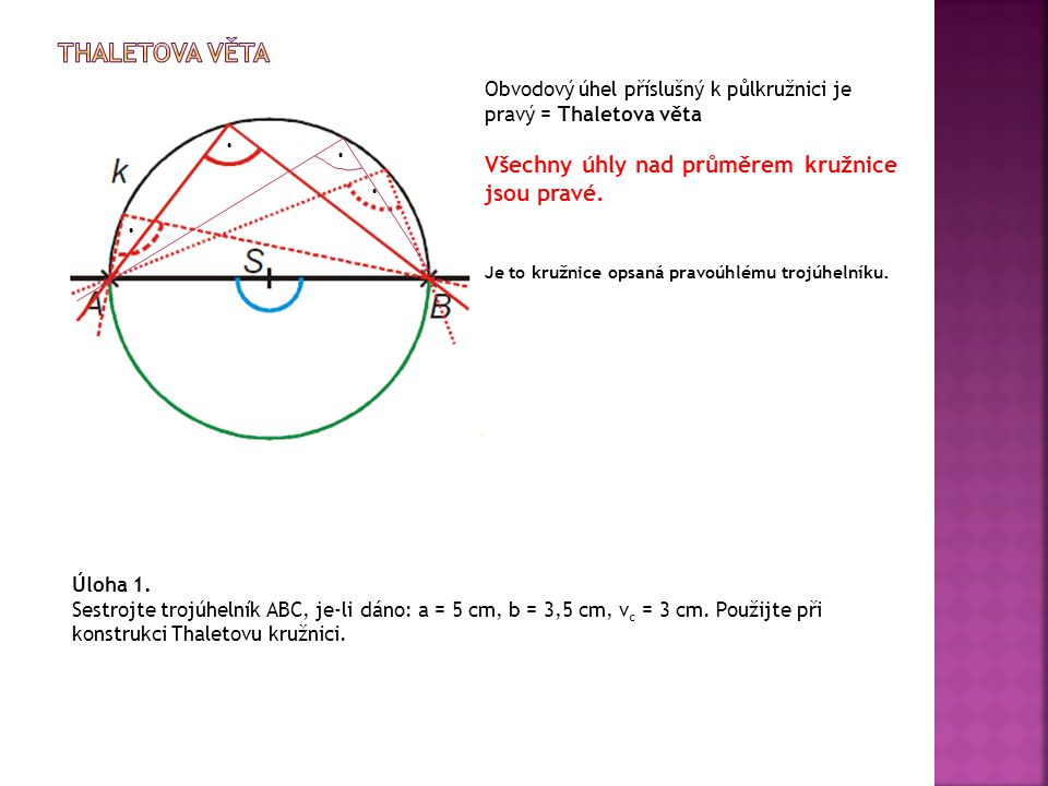 Obvodový úhel příslušný k půlkružnici je pravý = Thaletova věta Všechny úhly nad průměrem kružnice jsou pravé. Je to kružnice opsaná pravoúhlému trojú