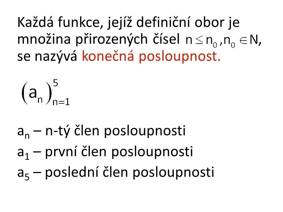 Každá funkce, jejíž definiční obor je množina přirozených čísel, se nazývá konečná posloupnost.