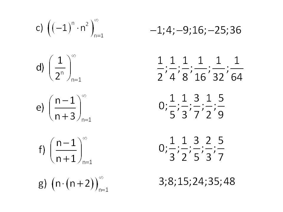 3)Posloupnost je dána rekurentně: Recurrere – latinsky vraceti se, jíti zpět Napište prvních pět členů posloupnosti: Řešení: 3; 1; −1; −3; −5