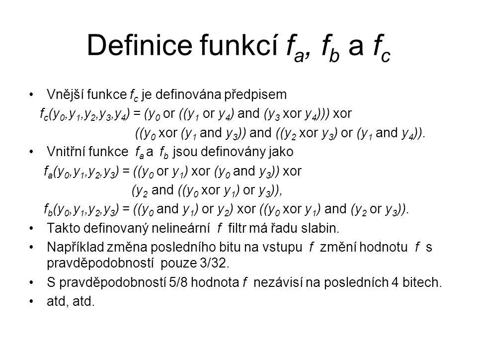 Definice funkcí f a, f b a f c Vnější funkce f c je definována předpisem f c (y 0,y 1,y 2,y 3,y 4 ) = (y 0 or ((y 1 or y 4 ) and (y 3 xor y 4 ))) xor ((y 0 xor (y 1 and y 3 )) and ((y 2 xor y 3 ) or (y 1 and y 4 )).