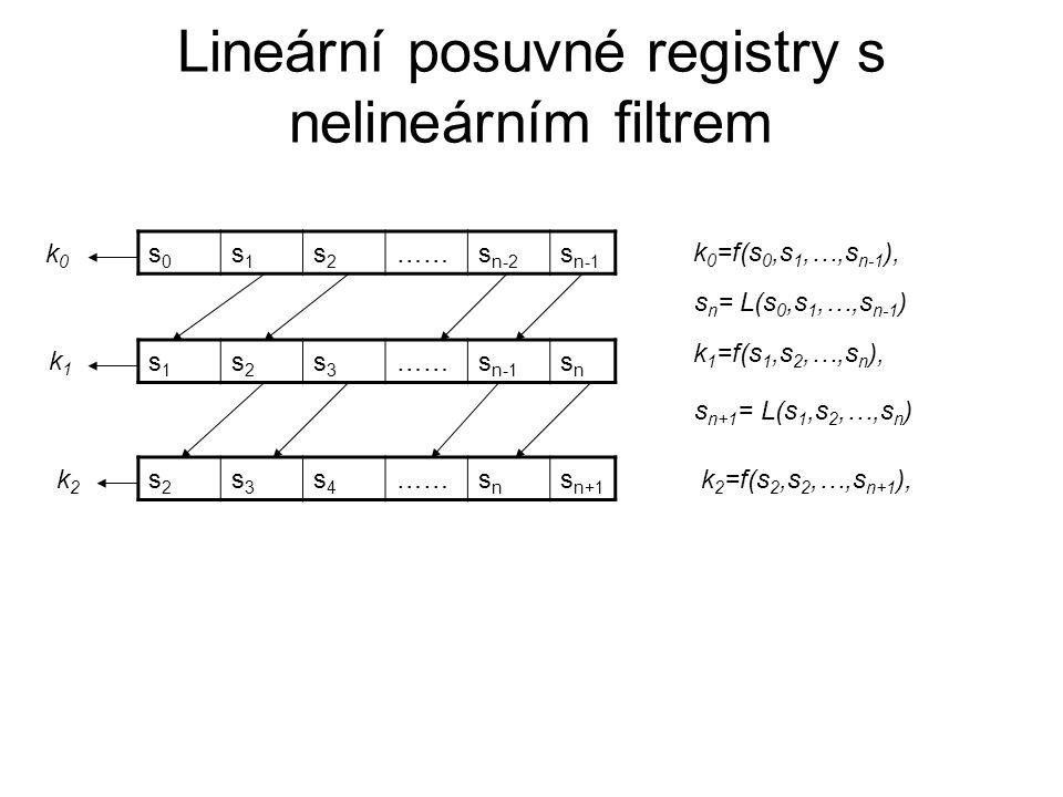 Lineární posuvné registry s nelineárním filtrem s0s0 s1s1 s2s2 ……s n-2 s n-1 s1s1 s2s2 s3s3 ……s n-1 snsn s2s2 s3s3 s4s4 ……snsn s n+1 s n = L(s 0,s 1,…,s n-1 ) s n+1 = L(s 1,s 2,…,s n ) k 0 =f(s 0,s 1,…,s n-1 ), k0k0 k1k1 k2k2 k 1 =f(s 1,s 2,…,s n ), k 2 =f(s 2,s 2,…,s n+1 ),
